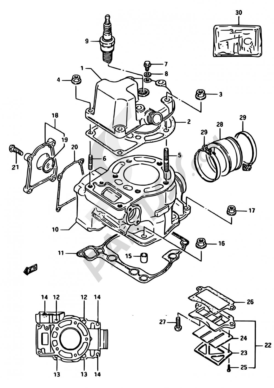 1 - CYLINDER (MODEL G) Suzuki RM125 1986