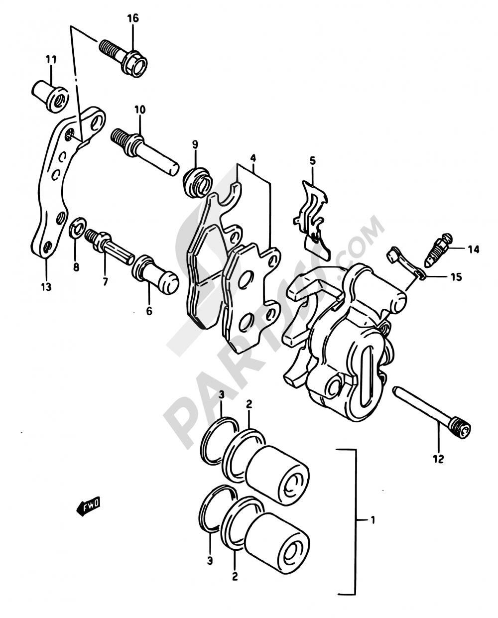 39 - FRONT CALIPER (MODEL H/J) Suzuki RM125 1987