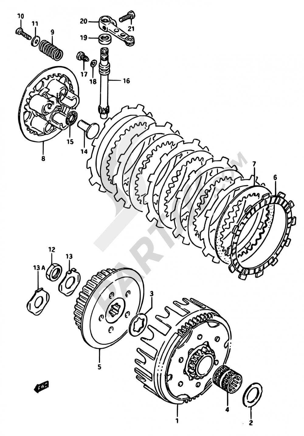 16 - CLUTCH Suzuki RM125 1988