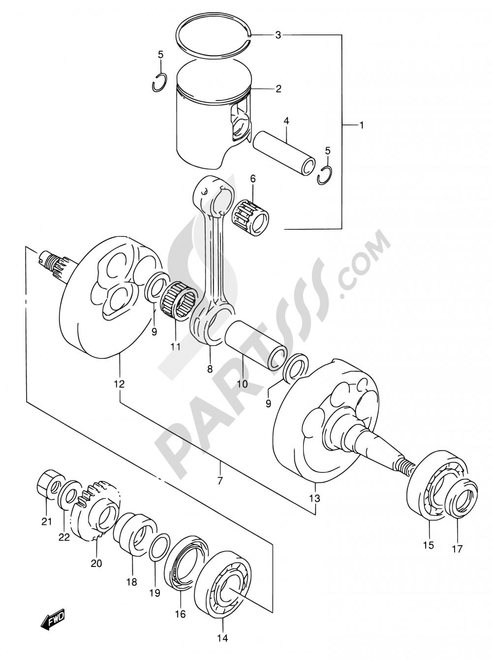 5 - CRANKSHAFT (MODEL K) Suzuki RMX250 1989