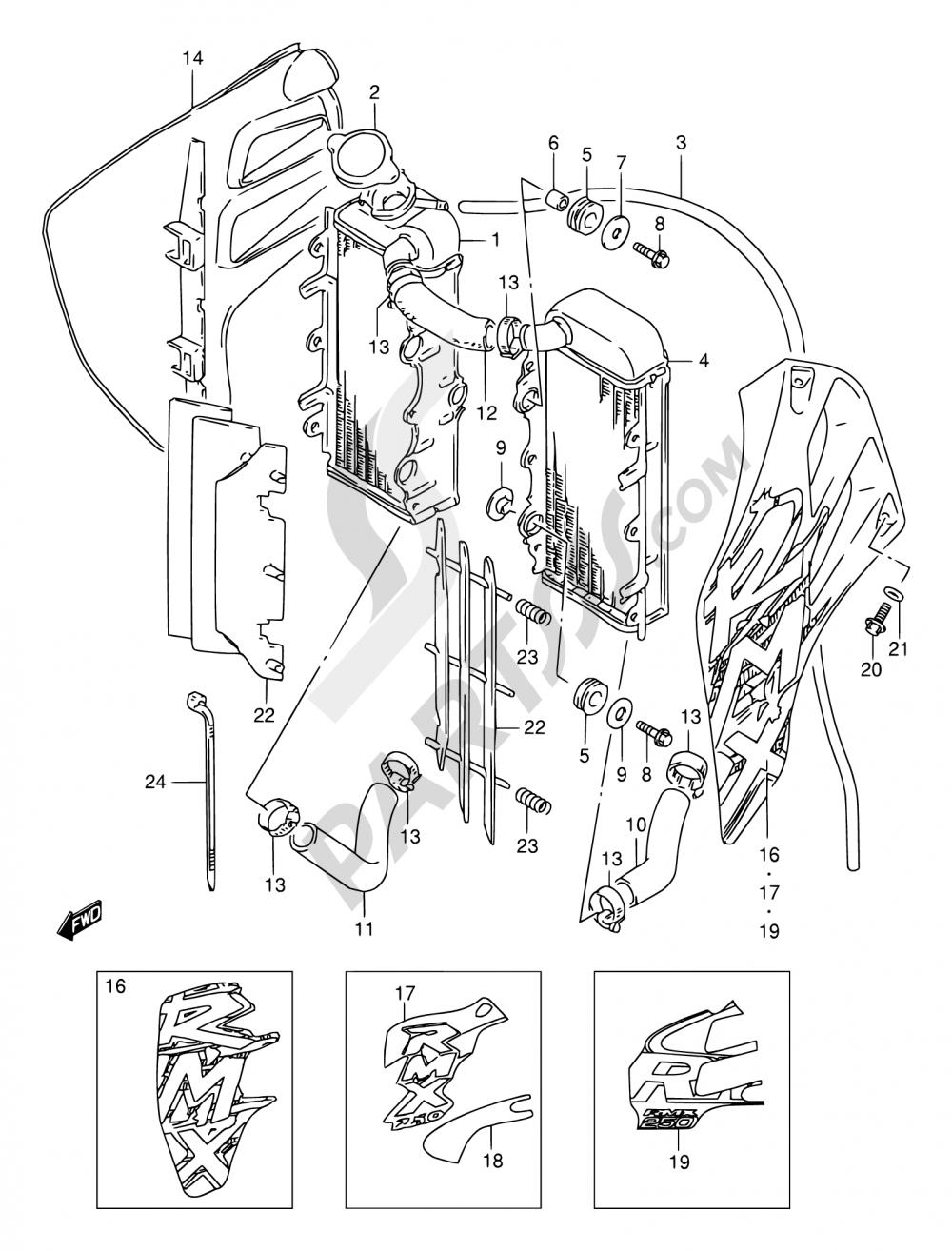 9 - RADIATOR Suzuki RMX250 1997