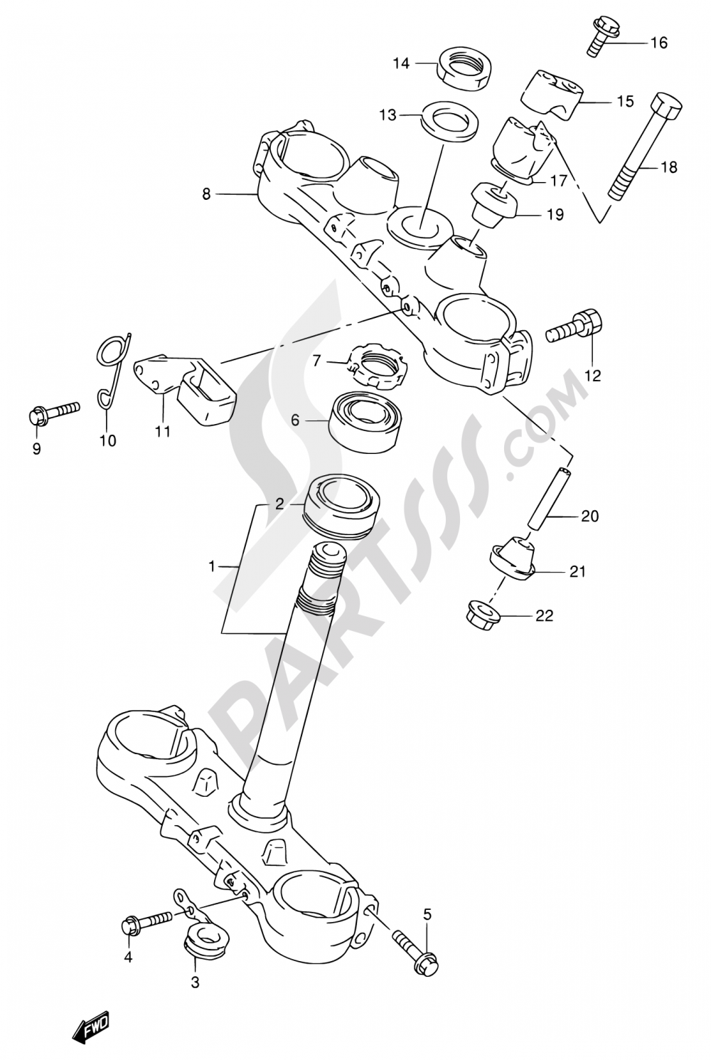 34 - STEERING STEM Suzuki RMX250 1997