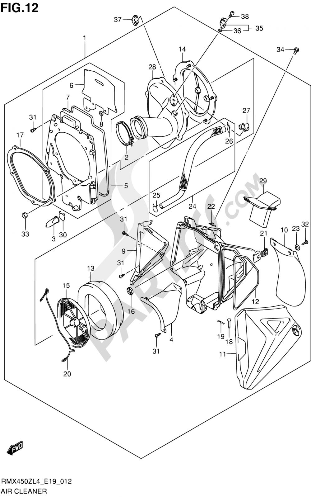 Suzuki Rmx450z Wiring Diagram Schematics 2012 Dr650 Detailed Diagrams Gsx1250fa 12 Air Cleaner 2014