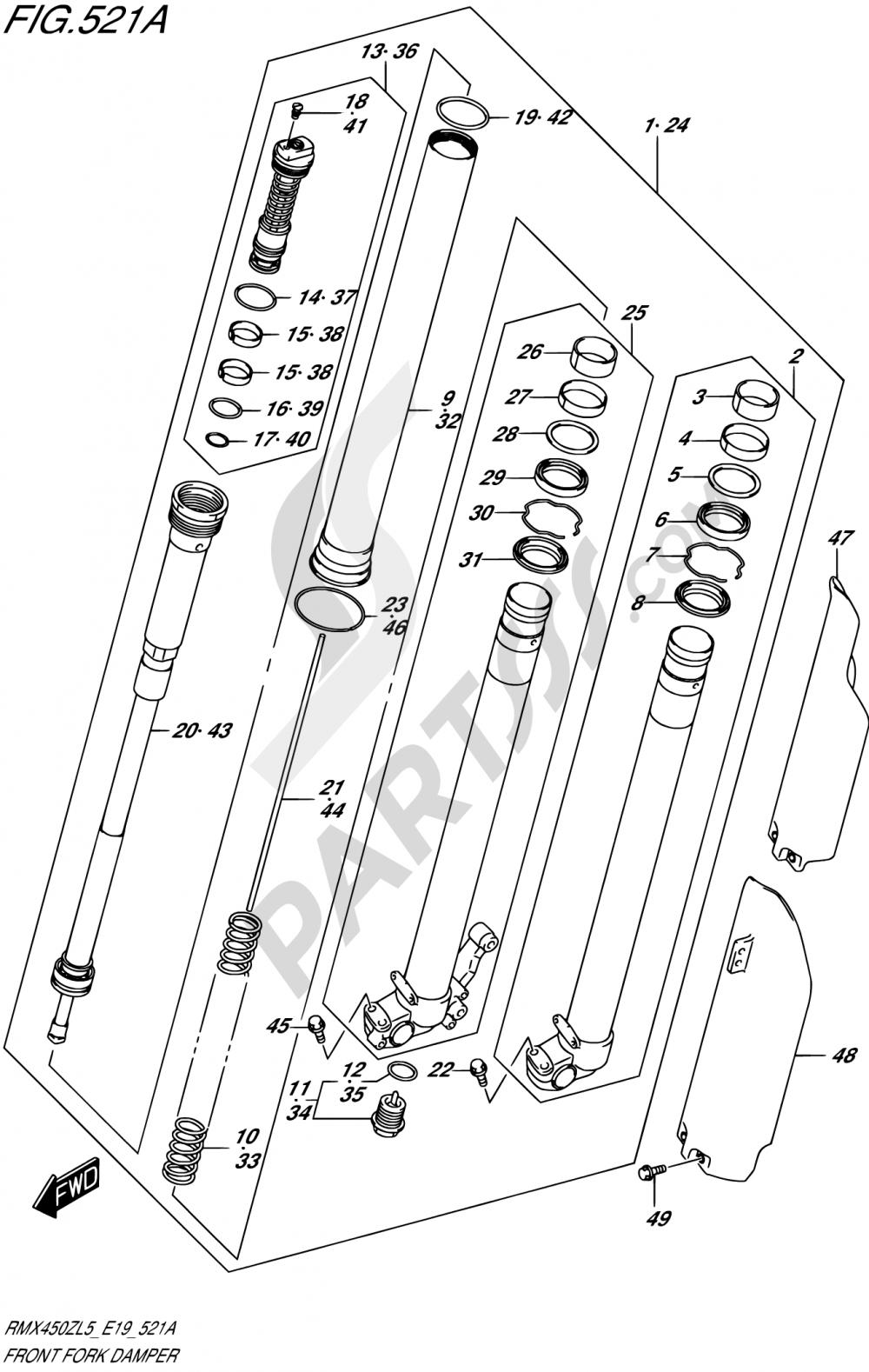 521A - FRONT FORK DAMPER Suzuki RMX450Z 2015
