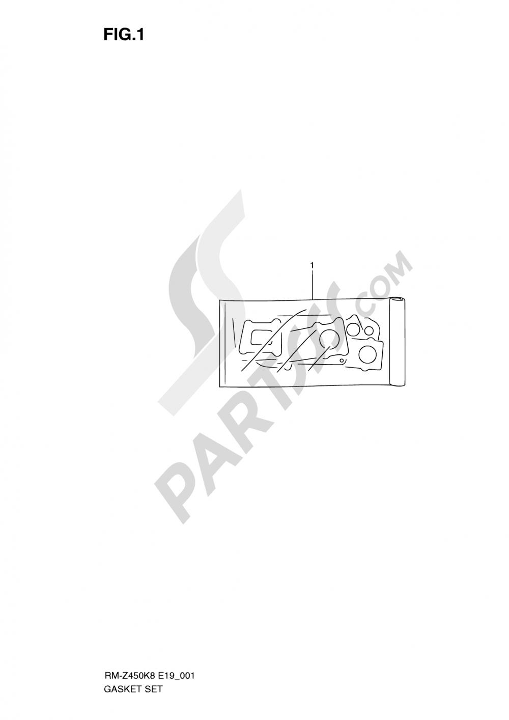 1 - GASKET SET (RM-Z450K8/K9/L0) Suzuki RM-Z450 2009
