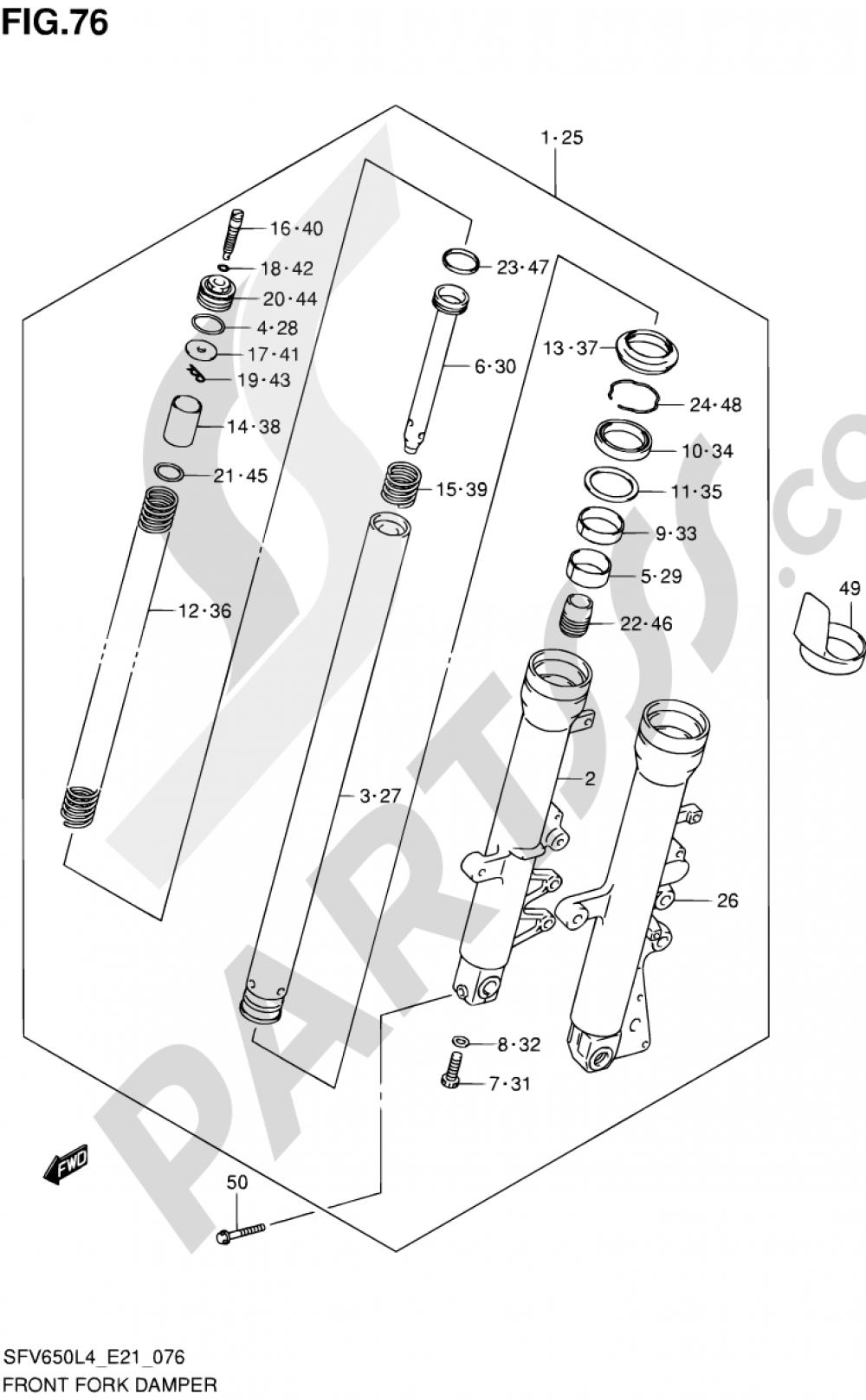 76 - FRONT FORK DAMPER (SFV650UAL4 E21) Suzuki GLADIUS SFV650 2014