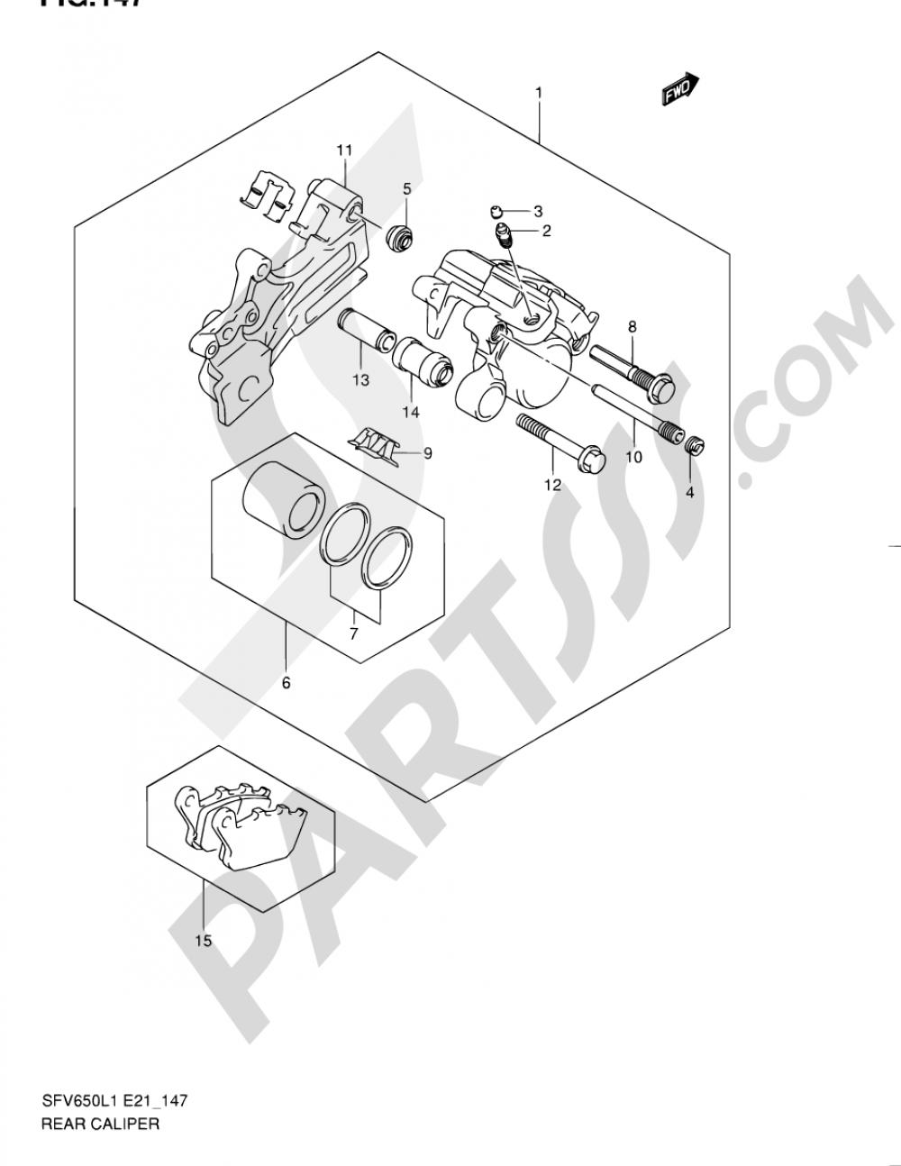 147 - REAR CALIPER (SFV650AL1 E21) Suzuki GLADIUS SFV650 2011