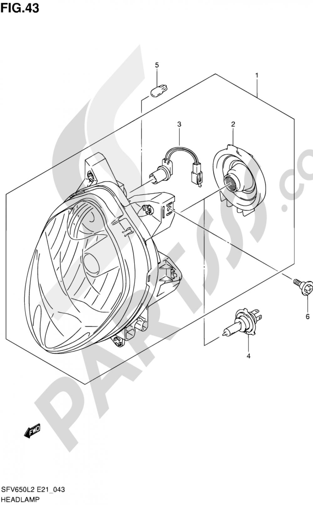 43 - HEADLAMP (SFV650L2 E21) Suzuki GLADIUS SFV650 2012