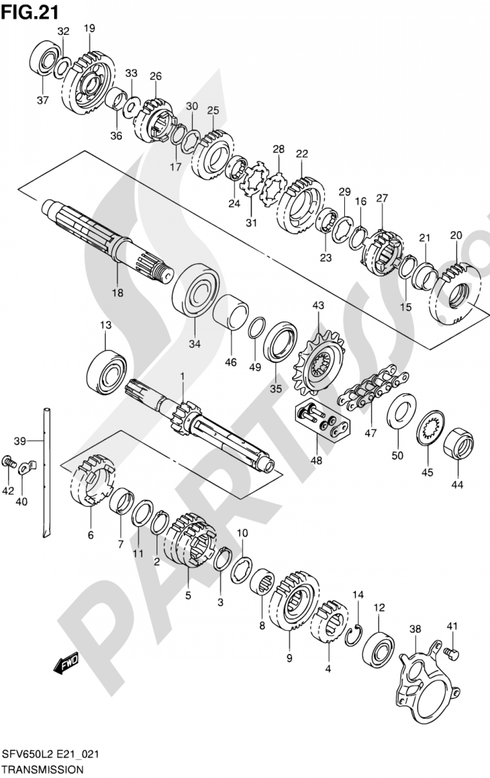 21 - TRANSMISSION Suzuki GLADIUS SFV650 2012