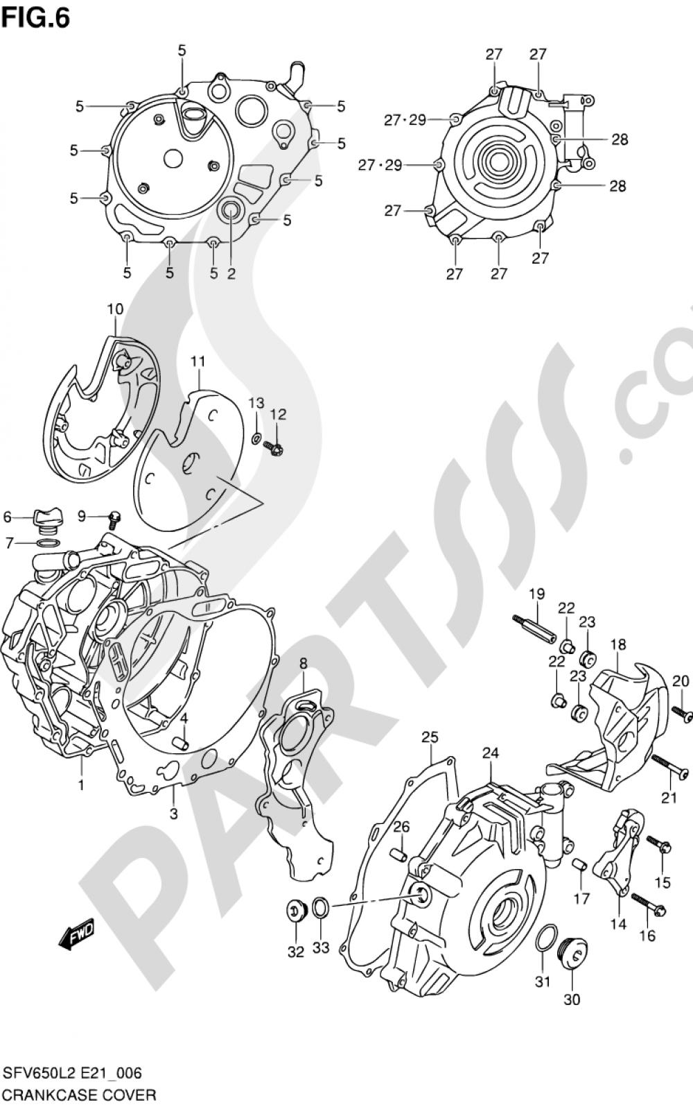 6 - CRANKCASE COVER Suzuki GLADIUS SFV650 2012