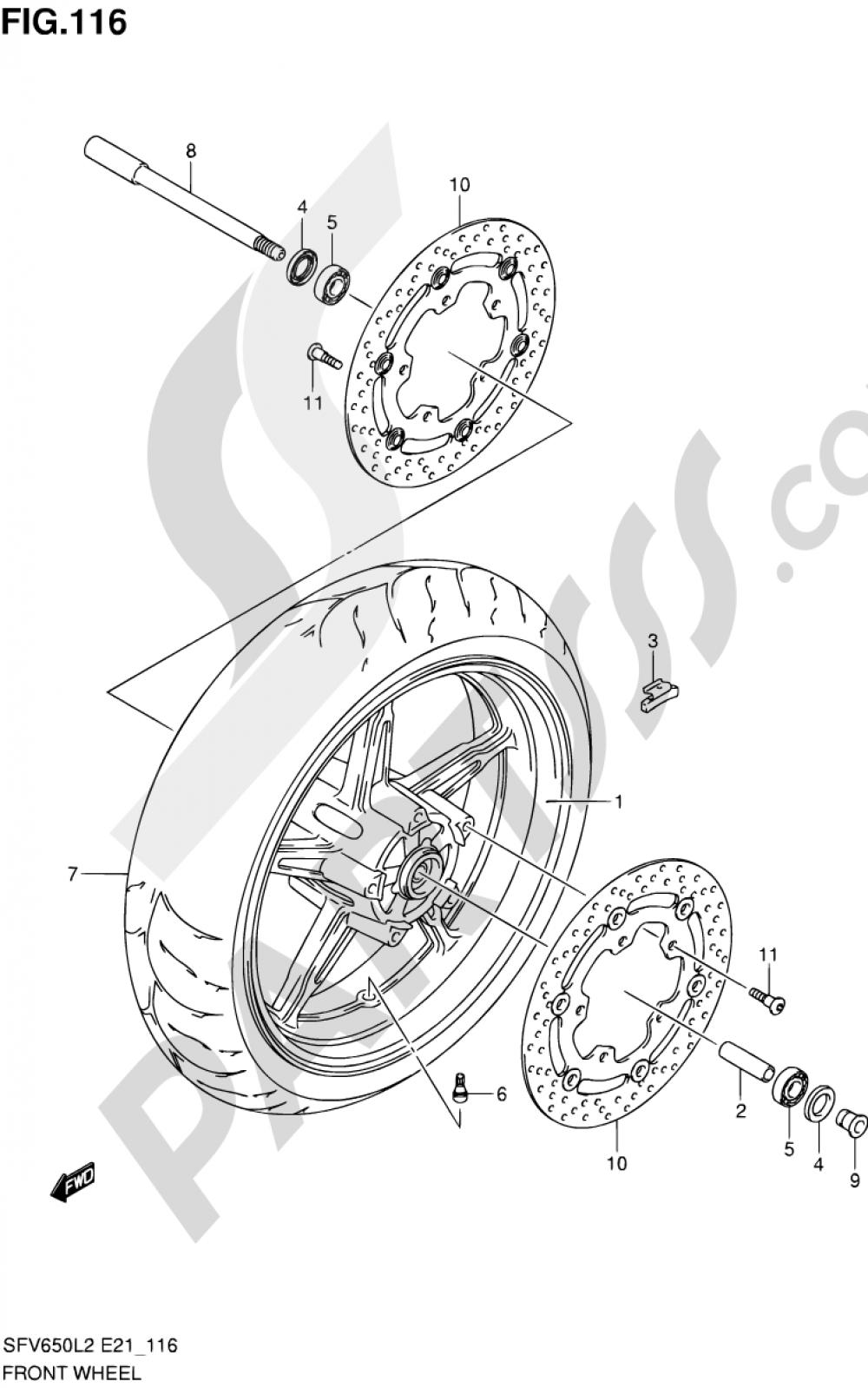 116 - FRONT WHEEL (SFV650L2 E21) Suzuki GLADIUS SFV650 2012