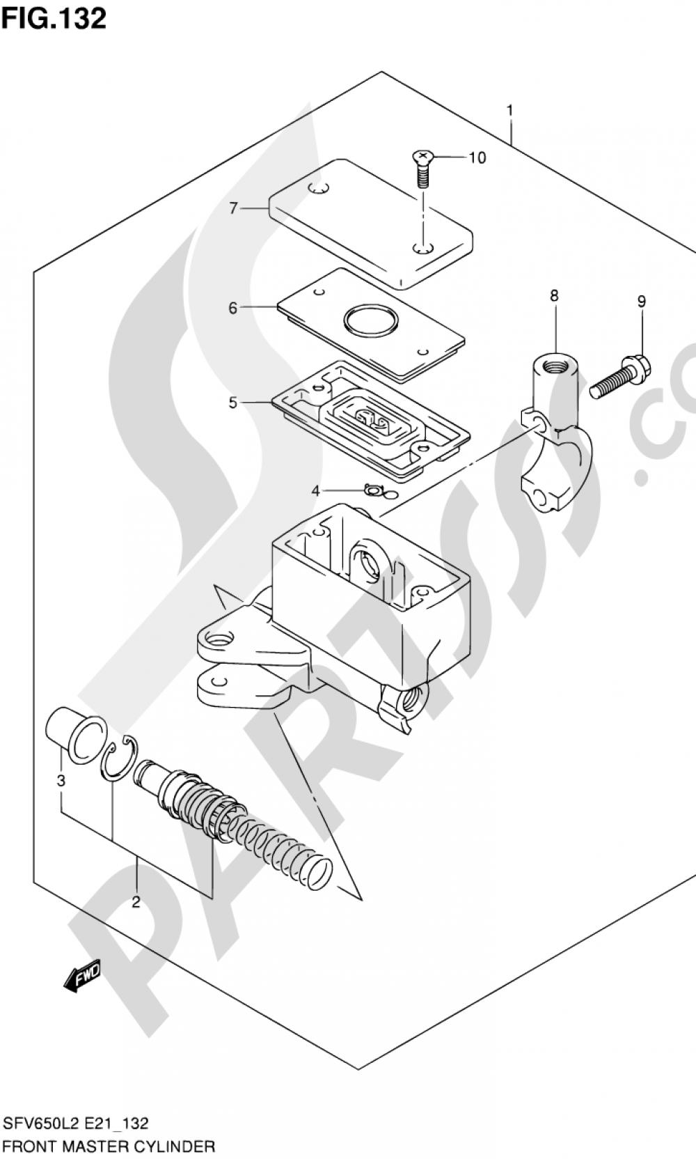 132 - FRONT MASTER CYLINDER (SFV650UL2 E21) Suzuki GLADIUS SFV650 2012
