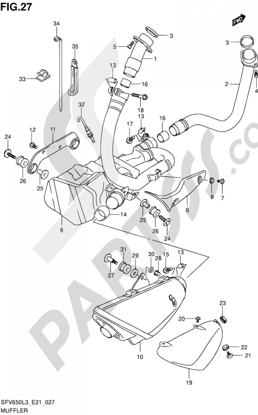 27 - MUFFLER (SFV650AL3 E21) Suzuki GLADIUS SFV650 2013