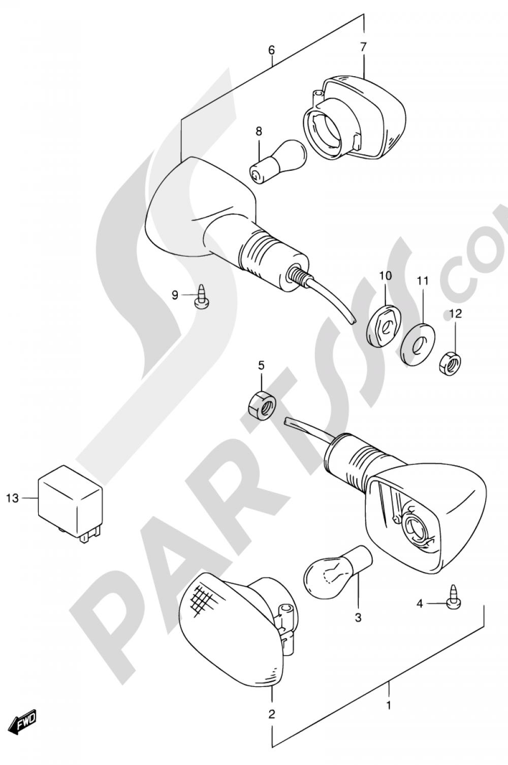 27 - TURNSIGNAL LAMP (SV650X/UX/Y/UY/K1/UK1/K2/UK2) Suzuki SV650 2002