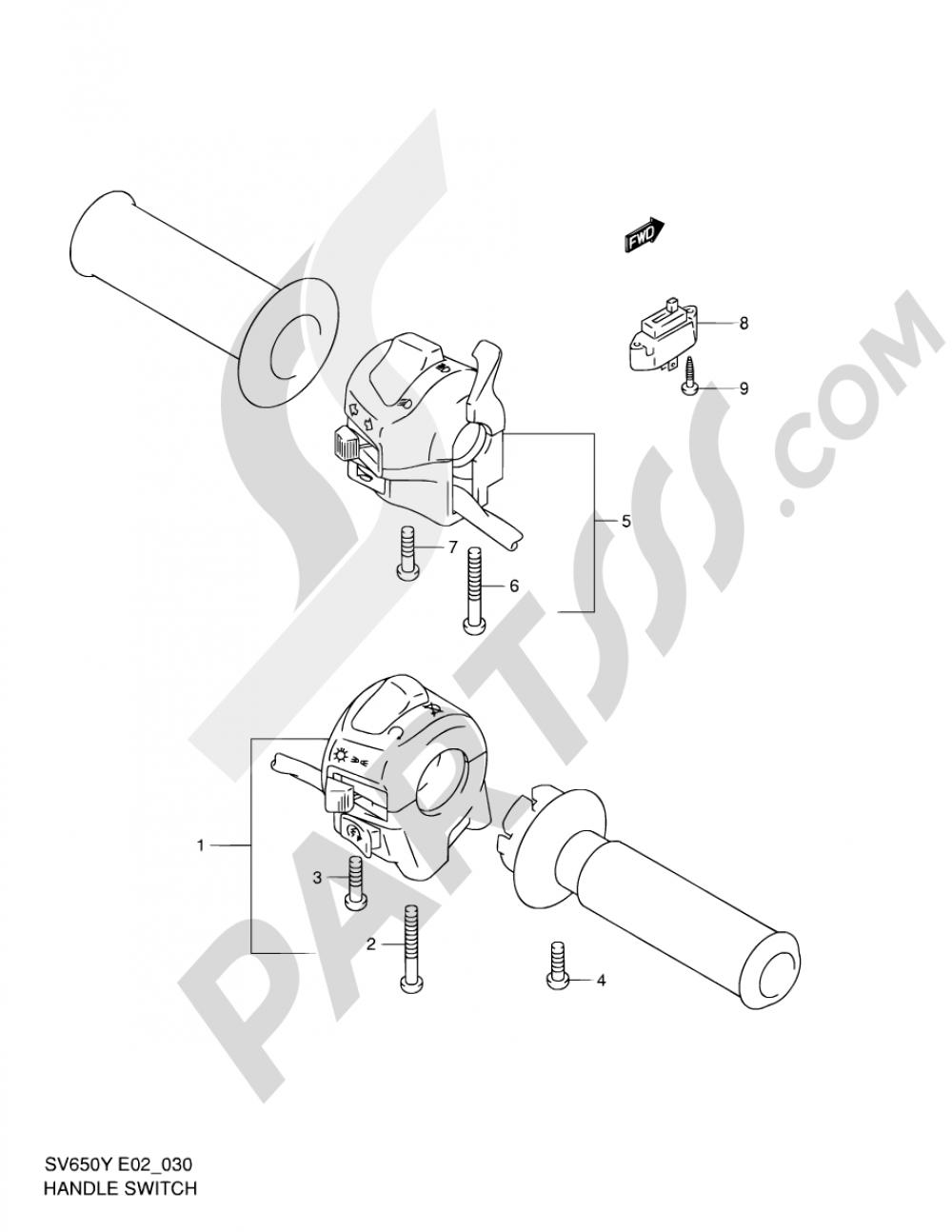 30 - HANDLE SWITCH (SV650X/UX/Y/UY/K1/UK1/K2/UK2) Suzuki SV650 2002