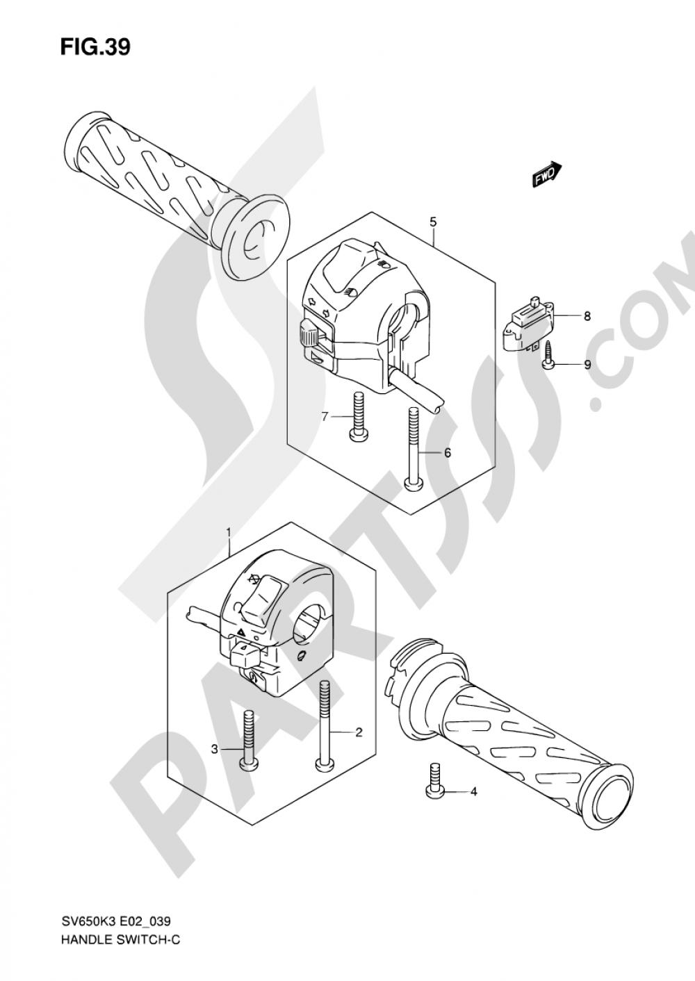 39 - HANDLE SWITCH (SV650K3/K4/K5/K6/K7/UK3/UK4/UK5/UK6/UK7/UAK7) Suzuki  SV650 2003