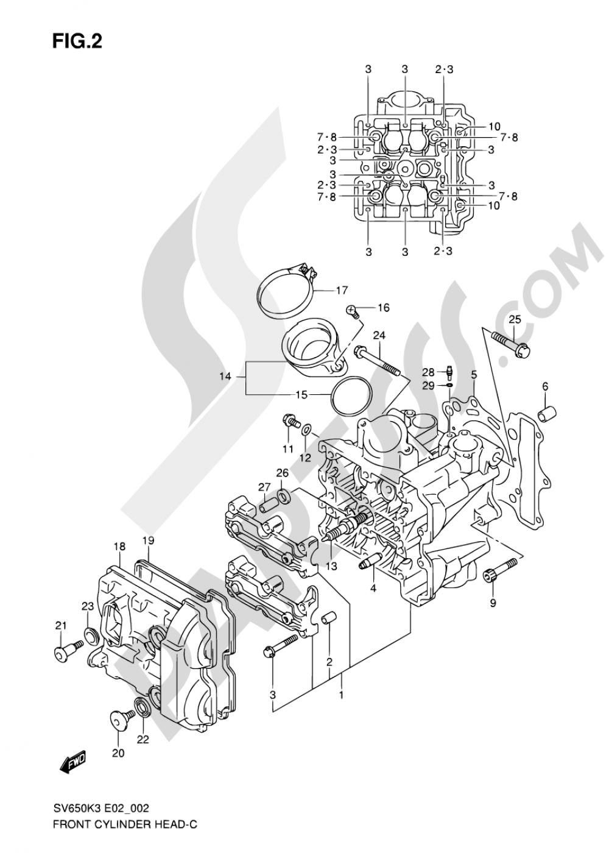 2 - FRONT CYLINDER HEAD (MODEL K3/K4/K5/K6) Suzuki SV650 2006
