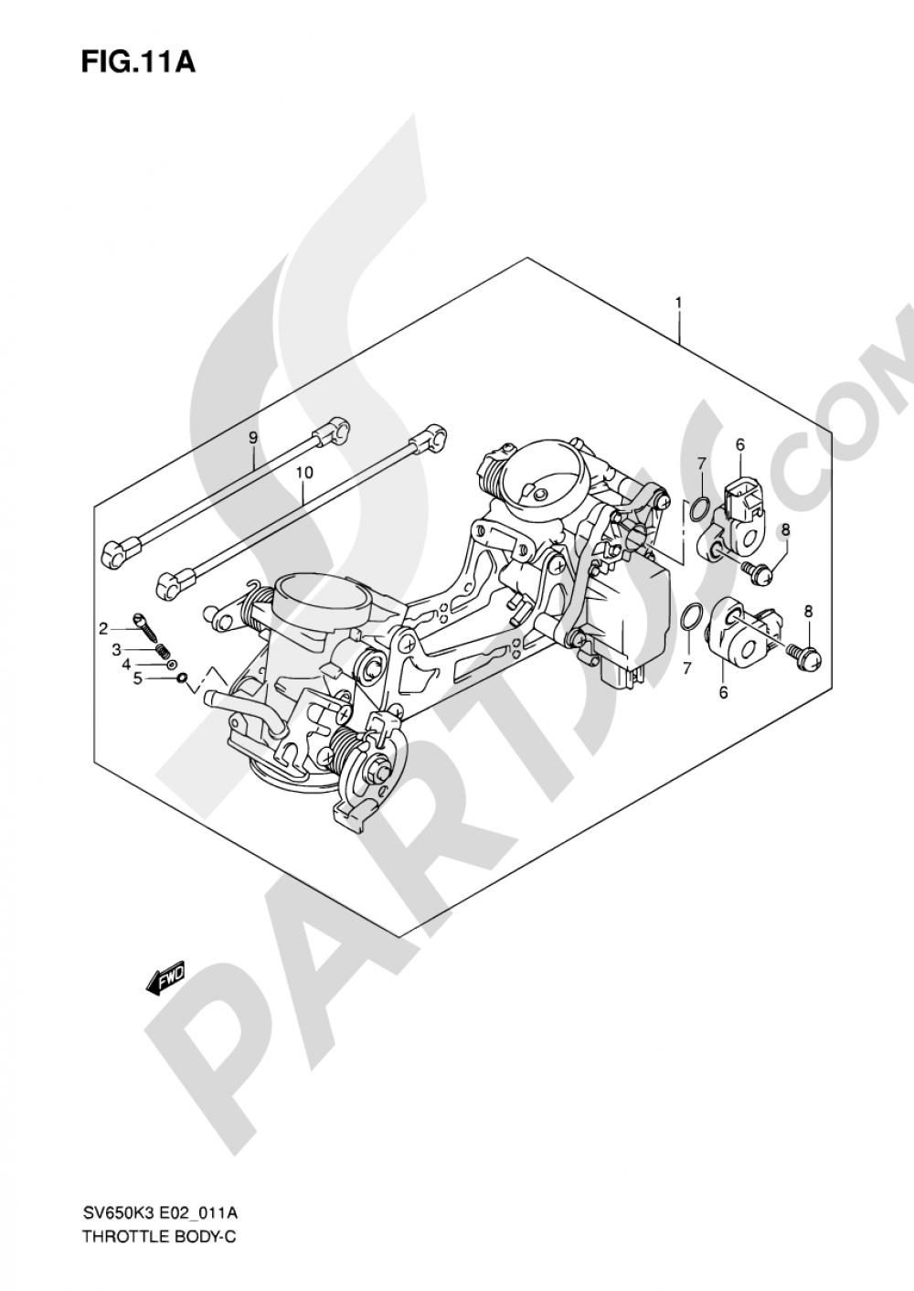 11A - THROTTLE BODY (MODEL K7) Suzuki SV650 2007