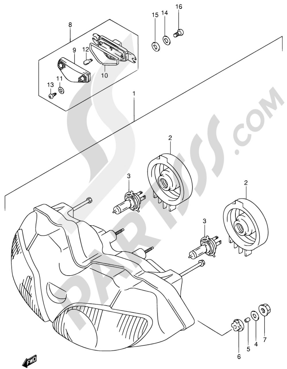 26A - HEADLAMP (SV650SX/SY/SK1/SK2 E02,E24) Suzuki SV650 2000