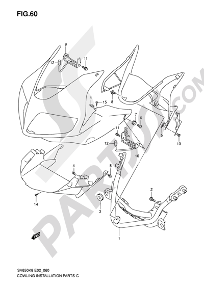Suzuki SV650A 2009 60 - COWLING INSTALLATION PARTS (WITH COWLING)
