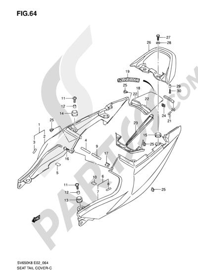 Suzuki SV650A 2009 64 - SEAT TAIL COVER (SV650SK8/SUK8/SAK8/SUAK8)