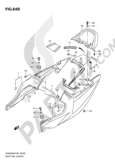 Suzuki SV650A 2009 64B - SEAT TAIL COVER (SV650SL0/SUL0/SAL0/SUAL0)