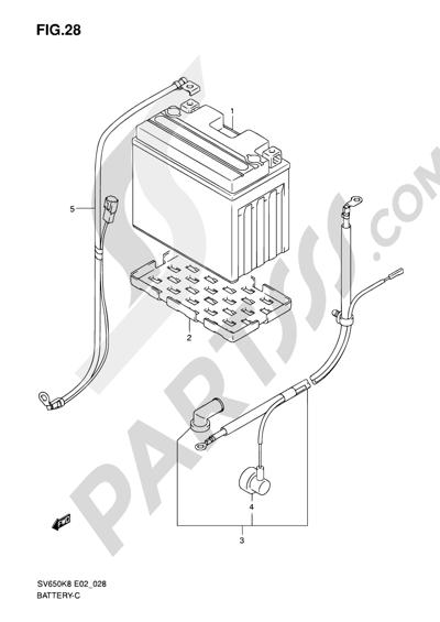 Suzuki SV650A 2009 28 - BATTERY (FOR SV650A/SV650UA/SV650SA/SV650SUA/ASU)