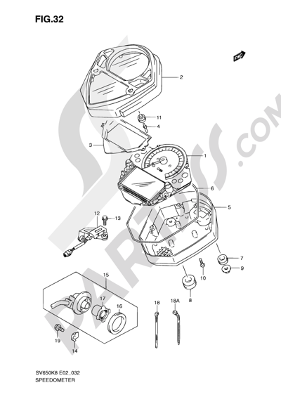 Suzuki SV650A 2009 32 - SPEEDOMETER (SV650SK8/SK9/SUK8/SUK9/SL0/SUL0)