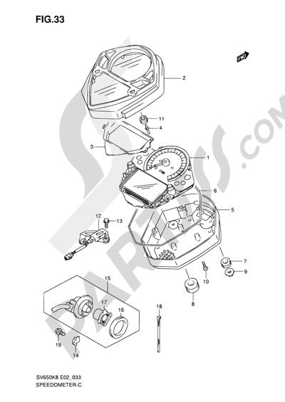 Suzuki SV650A 2009 33 - SPEEDOMETER (SV650SAK8/SAK9/SUAK8/SUAK9/SAL0/ASUL0)