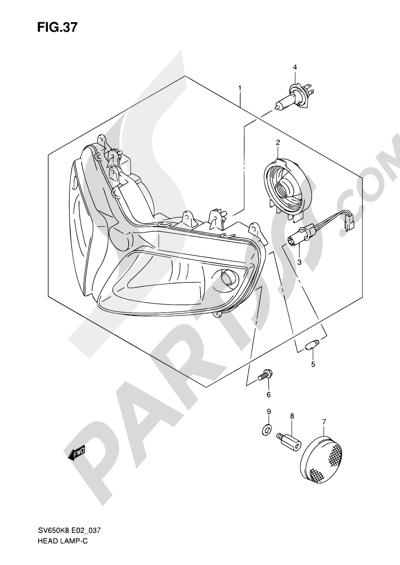 Suzuki SV650A 2009 37 - HEADLAMP (SV650SK8/SK9/SAK8/SL0/SAL0/SUL0 E24)