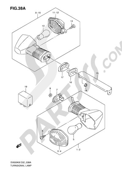 Suzuki SV650A 2009 38A - TURNSIGNAL LAMP (SV650K9/AK9/UK9/UAK9)