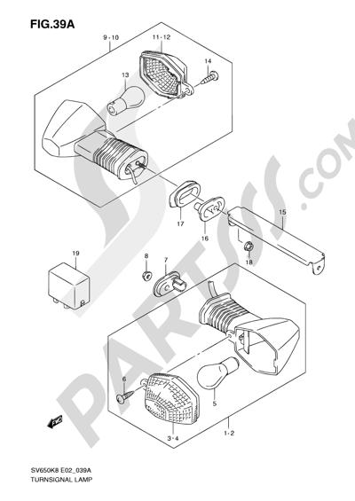 Suzuki SV650A 2009 39A - TURNSIGNAL LAMP (SV650SK9/SAK9/SUK9/SUAK9/SL0/SAL0/SUL0/ASUL0)