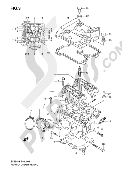 Suzuki SV650A 2009 3 - REAR CYLINDER HEAD