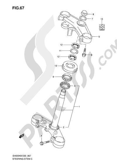 Suzuki SV650A 2009 67 - STEERING STEM (SEE NOTE)