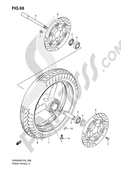Suzuki SV650A 2009 68 - FRONT WHEEL (SV650K8/UK8/SK8/SUK8/K9/UK9/SK9/SUK9/SL0/SUL0)
