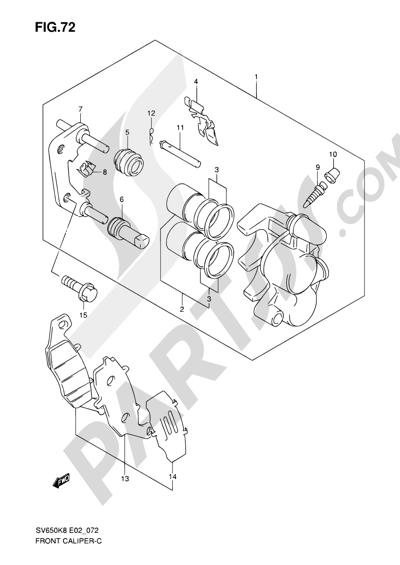 Suzuki SV650A 2009 72 - FRONT CALIPER (SEE NOTE)