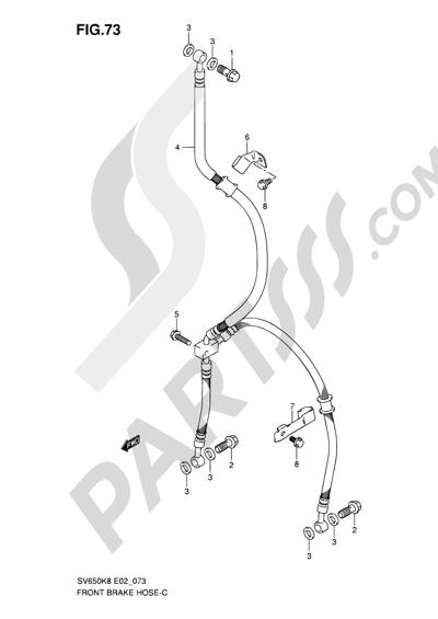 Suzuki SV650A 2009 73 - FRONT BRAKE HOSE (SV650K8/UK8/SK8/SUK8/K9/UK9/SK9/SUK9/SL0/SUL0)