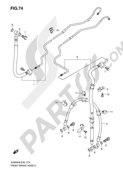 Suzuki SV650A 2009 74 - FRONT BRAKE HOSE (SEE NOTE)