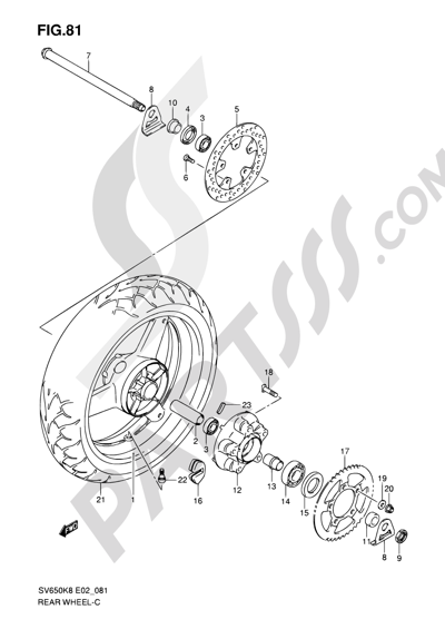 Suzuki SV650A 2009 81 - REAR WHEEL (SV650K8/UK8/SK8/SUK8/K9/UK9/SK9/SUK9/SL0/SUL0)