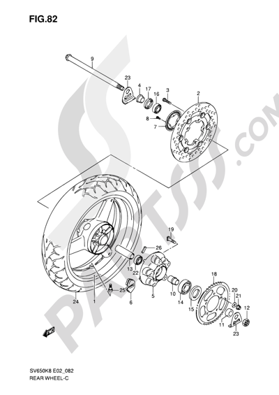 Suzuki SV650A 2009 82 - REAR WHEEL (SV650AK8/UAK8/SAK8/SUAK8/AK9/UAK9/SAK9/SUAK9/SAL0/SUAL0)