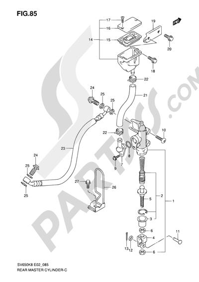 Suzuki SV650A 2009 85 - REAR MASTER CYLINDER (SV650K8/UK8/SK8/SUK8/K9/UK9/SK9/SUK9/SL0/SUL0)