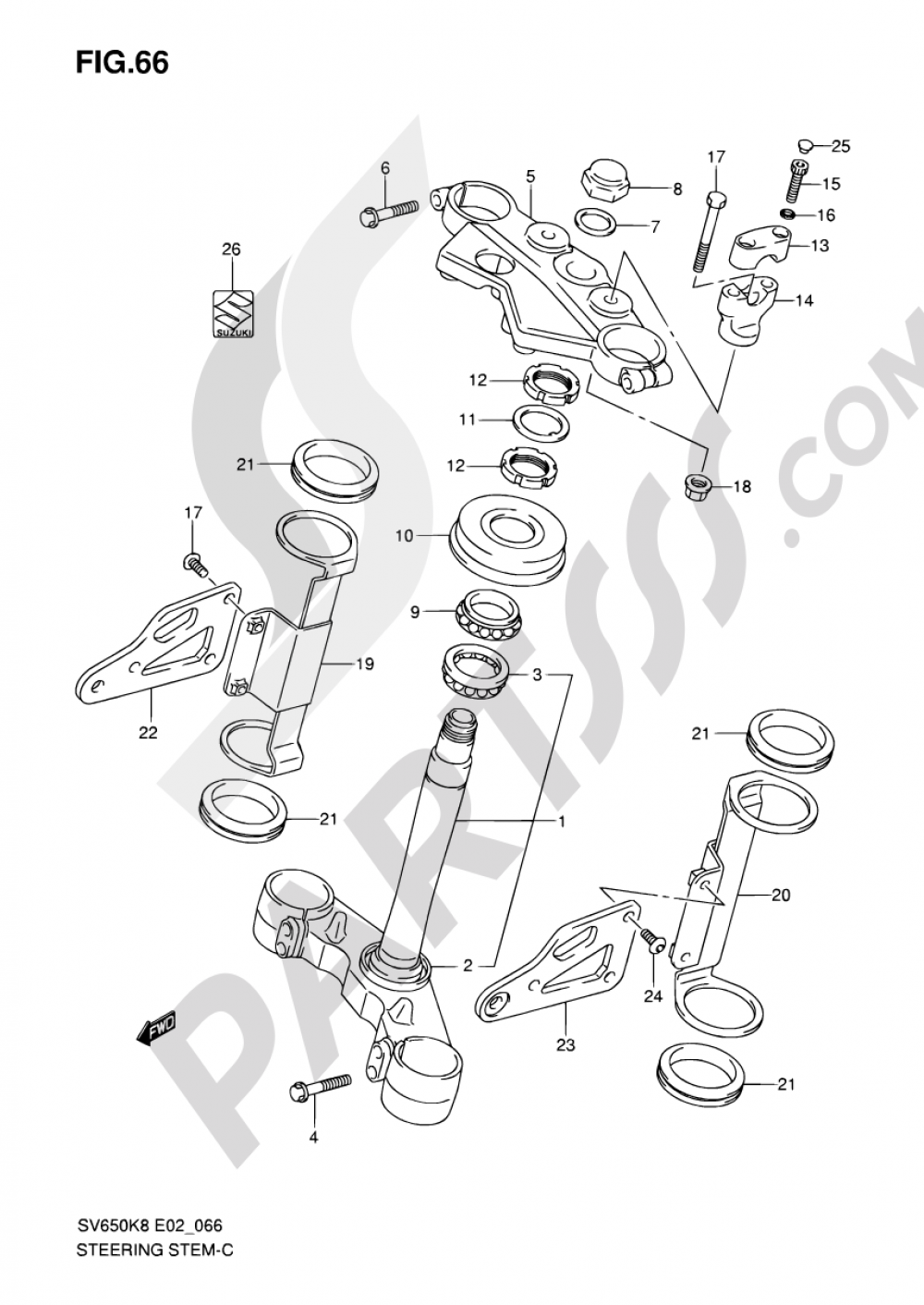 66 - STEERING STEM (SV650K8/UK8/AK8/UAK8/K9/UK9/AK9/UAK9) Suzuki SV650A 2009