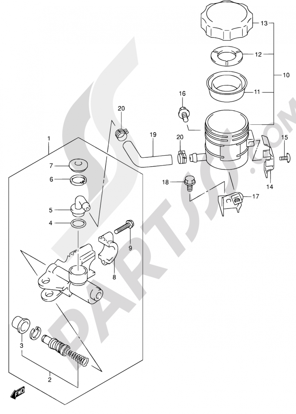 53A - FRONT MASTER CYLINDER (SV650SX/SUX/SY/SUY/SK1/SK2/SUK2) Suzuki SV650S 2001