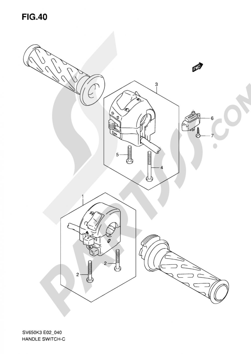 40 - HANDLE SWITCH (SEE NOTE) Suzuki SV650S 2004