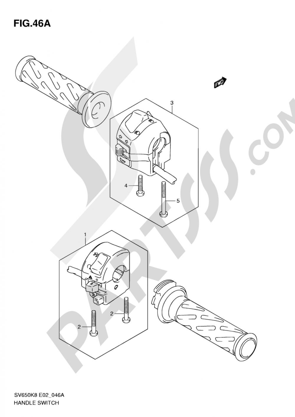 46A - HANDLE SWITCH (SV650SL0/SAL0/SUL0/ASUL0) Suzuki SV650S 2008