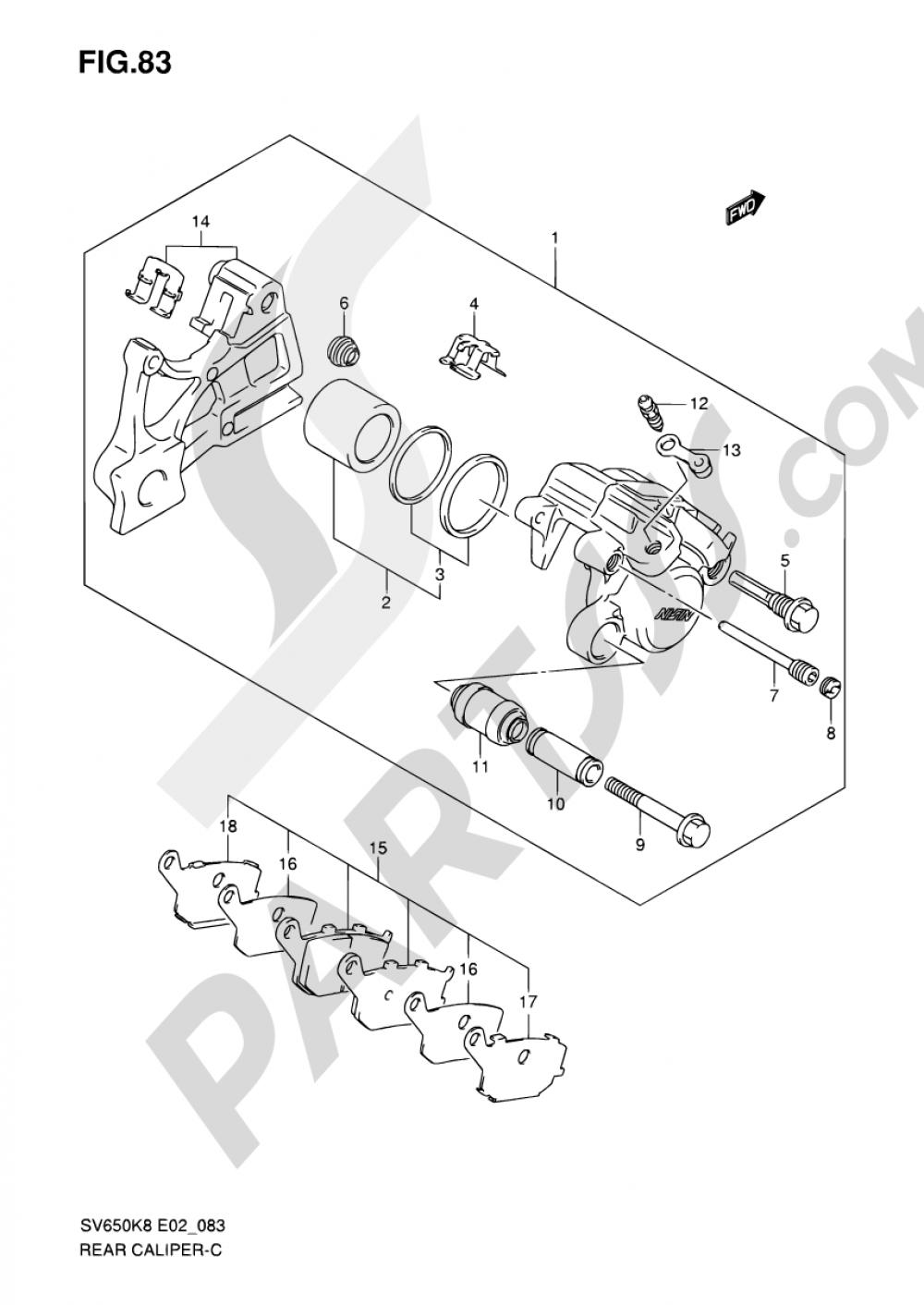 83 - REAR CALIPER (SV650K8/UK8/SK8/SUK8/K9/UK9/SK9/SUK9/SL0/SUL0) Suzuki SV650S 2009