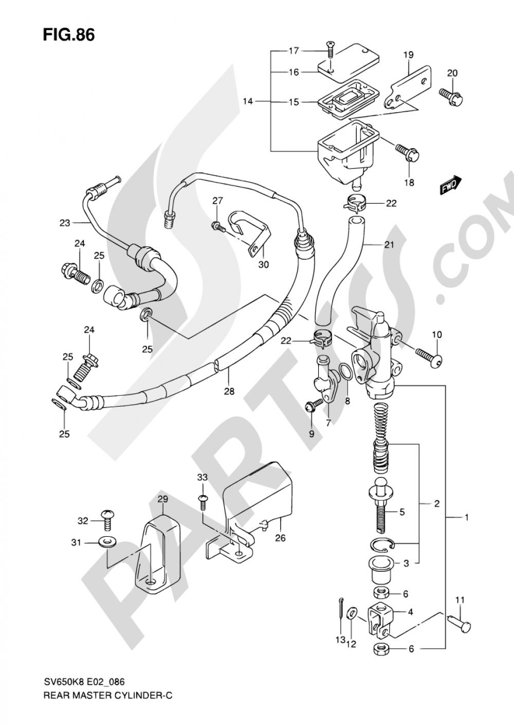 86 - REAR MASTER CYLINDER (SEE NOTE) Suzuki SV650S 2009