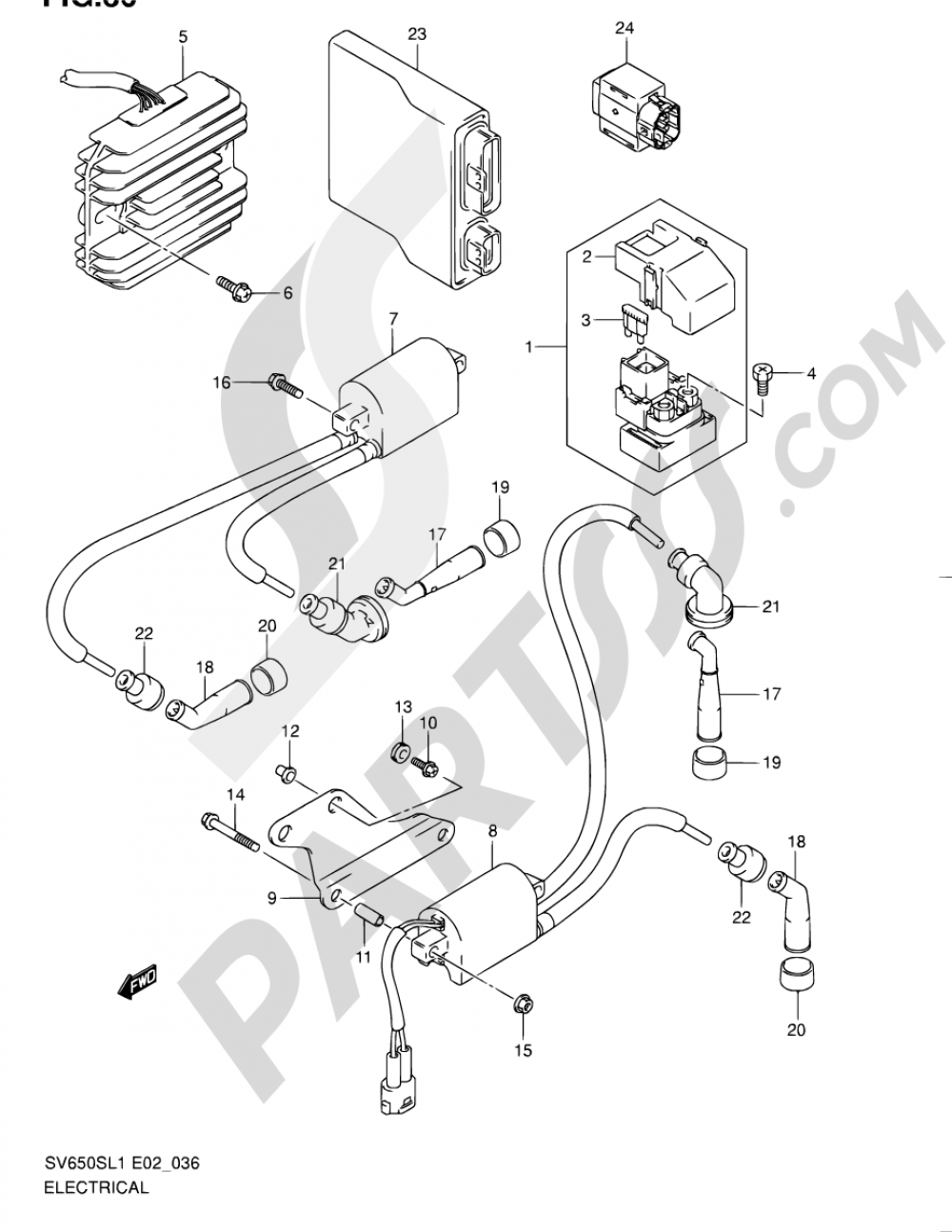 36 - ELECTRICAL (SV650SAL1 E24) Suzuki SV650S 2011