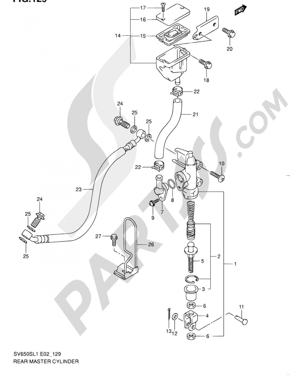 129 - REAR MASTER CYLINDER (SV650SUL1 E24) Suzuki SV650S 2011