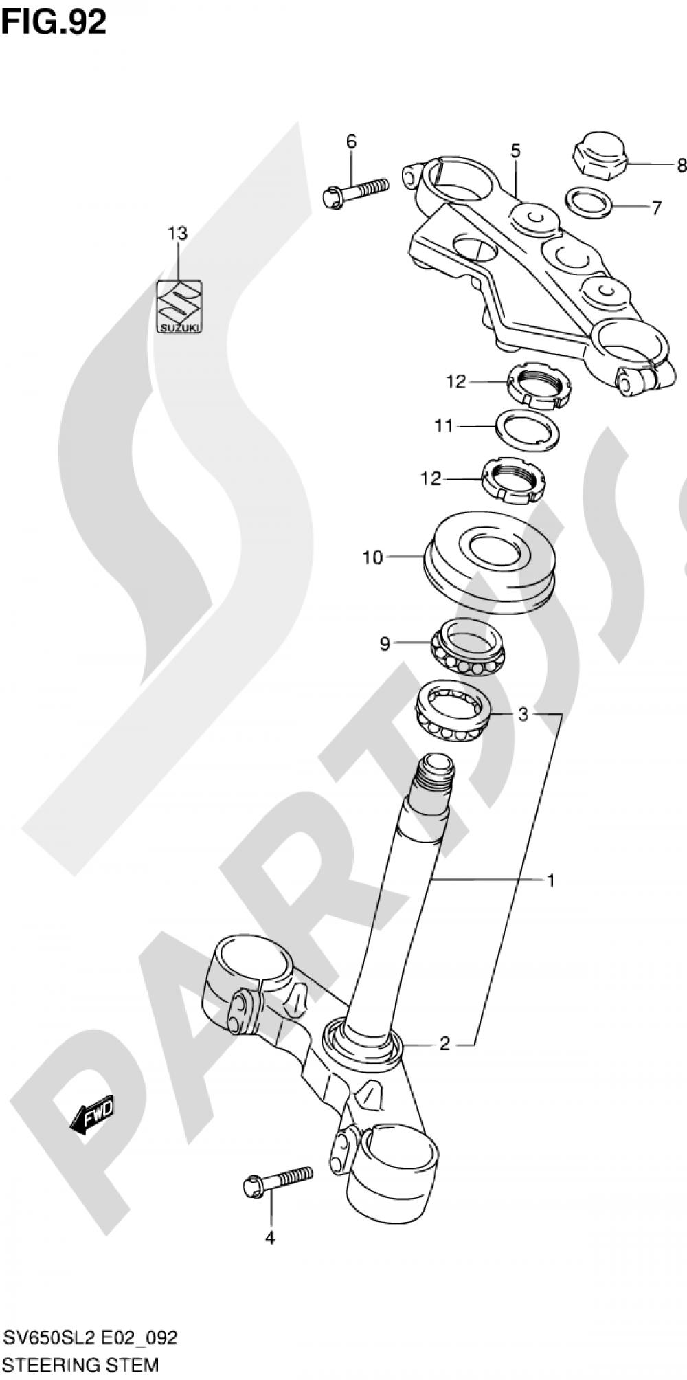 92 - STEERING STEM (SV650SAL2 E24) Suzuki SV650S 2012